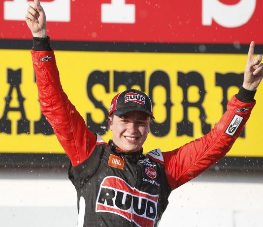 Christopher Bell in victory lane on Sunday at Iowa Speedway. (HHP/Ashley Dickerson Photo)