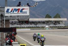 Toni Elias (24) crosses the finish line to win Sunday's MotoAmerica EBC Brakes Superbike race at the Utah Motorsports Campus. (Brian J. Nelson Photo)