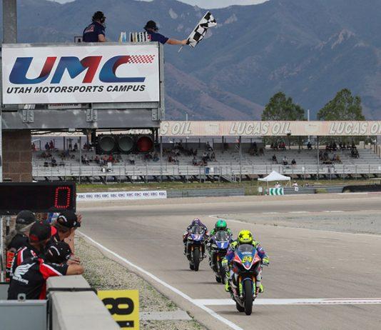 Toni Elias (24) crosses the finish line to win Sunday's MotoAmerica EBC Brakes Superbike race at the Utah Motorsports Campus. (Brian J. Nelson Photo)