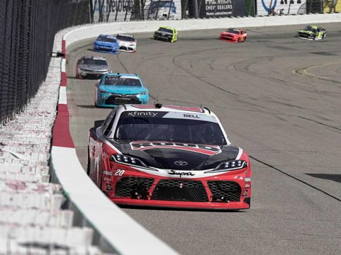 Christopher Bell leads the way Sunday at Iowa Speedway. (Ray Hague Photo)