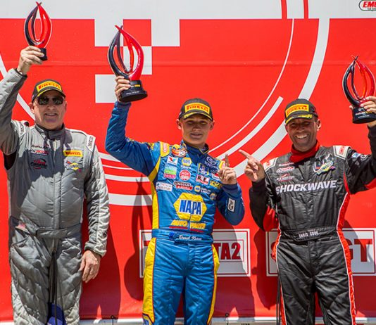 Derek Kraus (center) notched his first Trans Am Presented by Pirelli West Coast Championship victory on Sunday at Sonoma Raceway. (Trans-Am Photo)