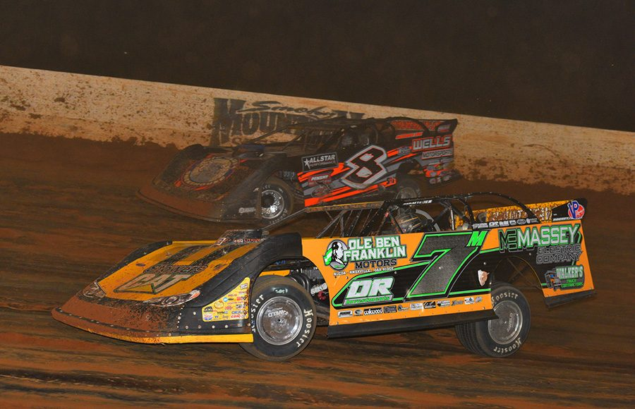 Donald McIntosh (7m) battles Kyle Strickler during Saturday's Lucas Oil Late Model Dirt Series feature at Smoky Mountain Speedway. (Michael Moats Photo)