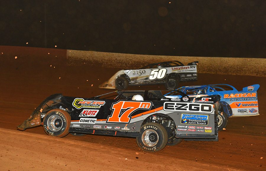 Dale McDowell (17m), Kyle Bronson (40) and Shanon Buckingham battle three-wide during Saturday's Lucas Oil Late Model Dirt Series feature at Smoky Mountain Speedway. (Michael Moats Photo)