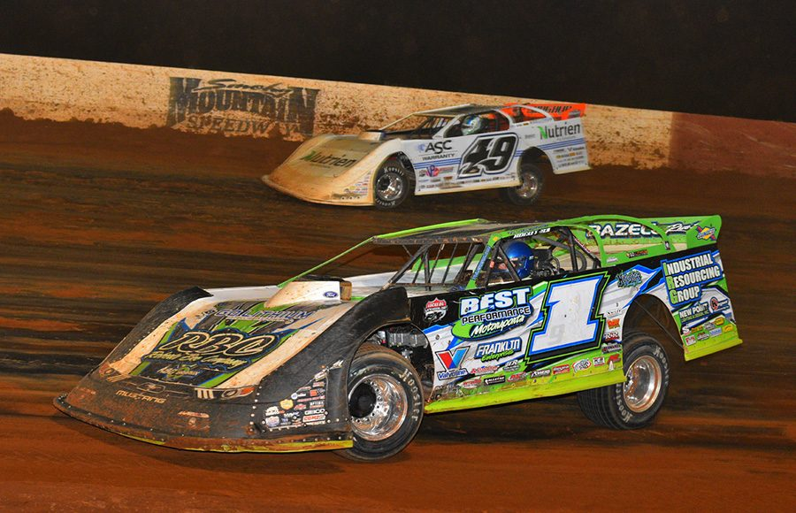 Tyler Erb (1) battles Jonathan Davenport during Saturday's Lucas Oil Late Model Dirt Series feature at Smoky Mountain Speedway. (Michael Moats Photo)