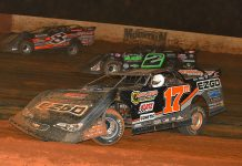 Dale McDowell (17m), Stormy Scott (2) and Kyle Strickler race three-wide during Saturday's Lucas Oil Late Model Dirt Series feature at Smoky Mountain Speedway. (Michael Moats Photo)
