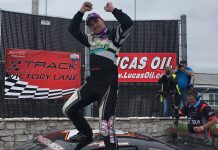 Austin Nason in victory lane at The Milwaukee Mile on Sunday afternoon. (Nick Dettmann Photo)