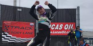 Austin Nason in victory lane at The Milwaukee Mile on Sunday afternoon. (Nick Dettmann Photo)
