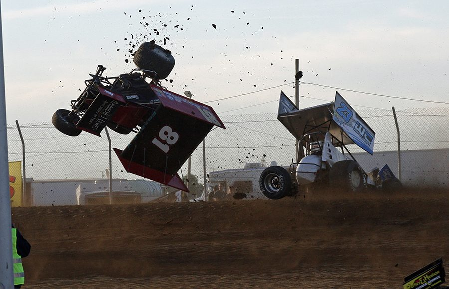 Lee Jacobs (81) got some major airtime during a crash Saturday at Attica Raceway Park. (Todd Ridgeway Photo)