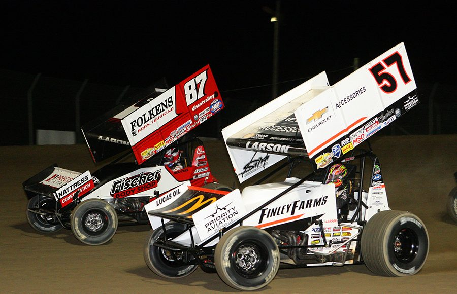 Kyle Larson (57) lines up alongside Aaron Reutzel during Saturday's Ollie's Bargain Outlet All Star Circuit of Champions event at Attica Raceway Park. (Todd Ridgeway Photo)