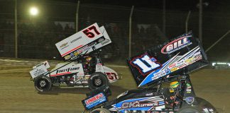 Kyle Larson (57) races ahead of Buddy Kofoid during Saturday's Ollie's Bargain Outlet All Star Circuit of Champions event at Attica Raceway Park. (Todd Ridgeway Photo)