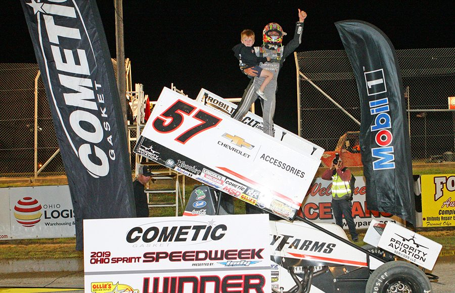 Kyle Larson celebrates in victory lane after winning Saturday's Ohio Sprint Speedweek feature at Attica Raceway Park. (Todd Ridgeway Photo)