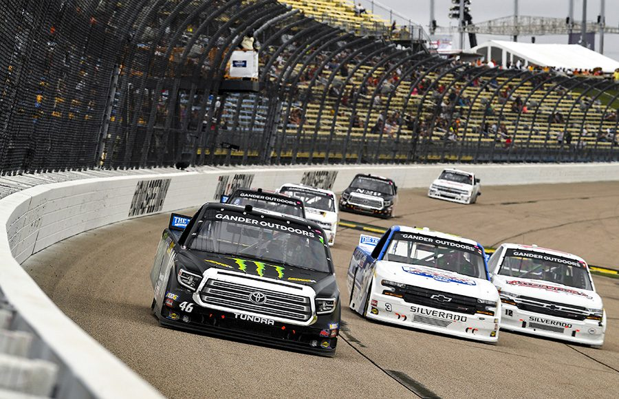 Riley Herbst (46) races ahead of other trucks during Sunday's NASCAR Gander Outdoors Truck Series event at Iowa Speedway. (Toyota Photo)