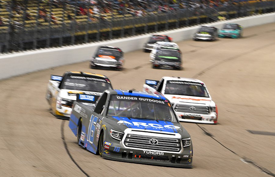 Austin Hill (16) leads a group of trucks during Sunday's NASCAR Gander Outdoors Truck Series event at Iowa Speedway. (Toyota Photo)