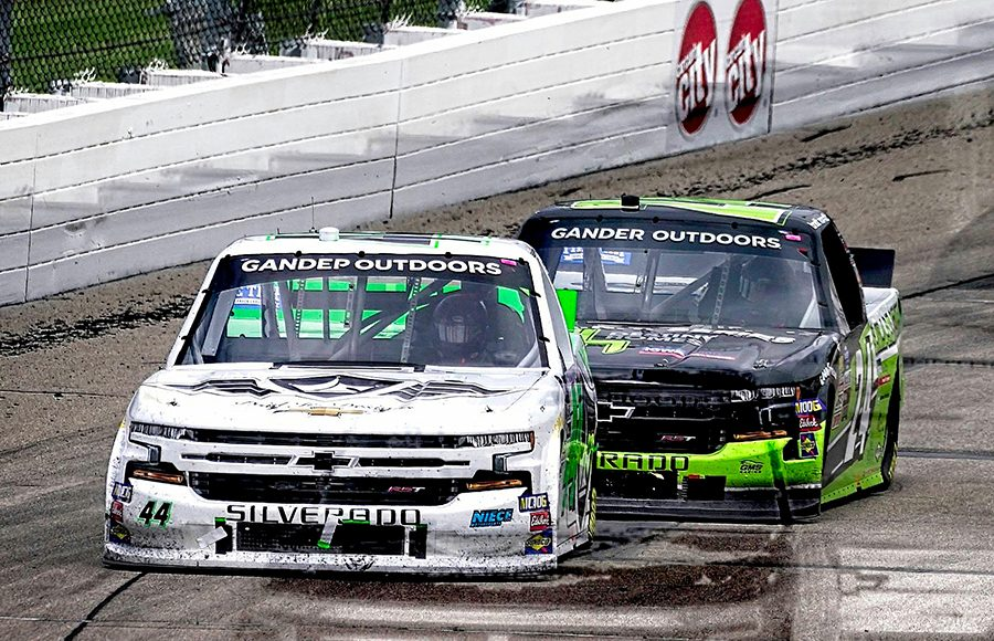 Ross Chastain (44) races ahead of Brett Moffitt during Sunday's NASCAR Gander Outdoors Truck Series event at Iowa Speedway. (Ray Hague Photo)