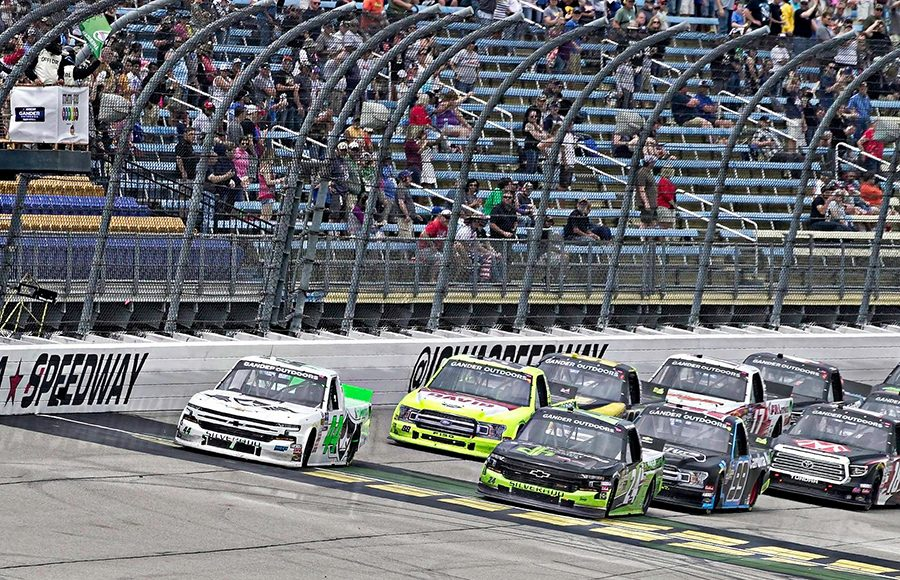 Ross Chastain (44) leads the way during a restart as part of Sunday's NASCAR Gander Outdoors Truck Series event at Iowa Speedway. (Ray Hague Photo)