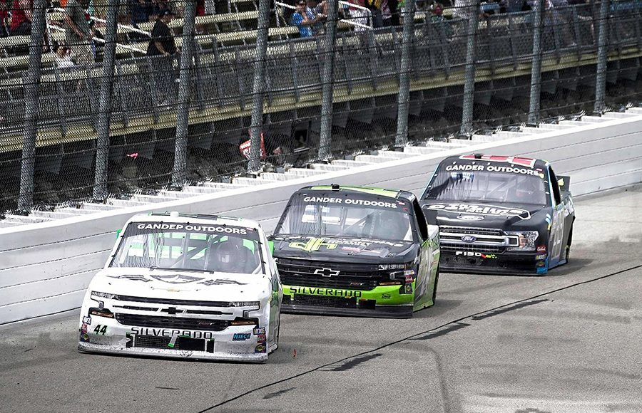Ross Chastain (44) leads Brett Moffitt (24) and Ben Rhodes during Sunday's NASCAR Gander Outdoors Truck Series event at Iowa Speedway. (Ray Hague Photo)