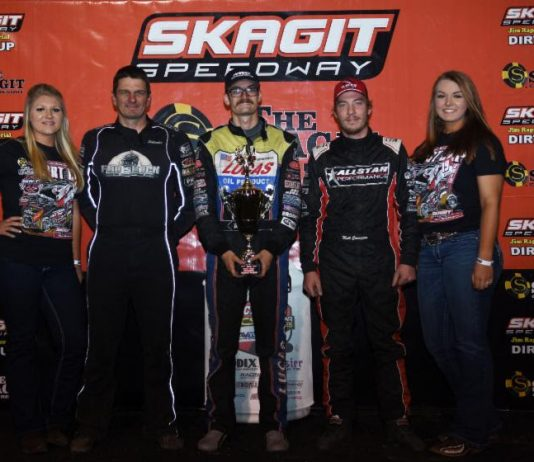 Blake Hahn (center) shares the Skagit Speedway podium with Matt Covington and Jason Solwold. (Malcolm White photo)