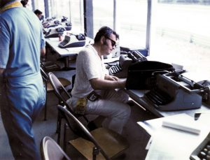 Chris Economaki was always hard at work during his long stint as editor and publisher of National Speed Sport News. (NSSN Archives Photo)