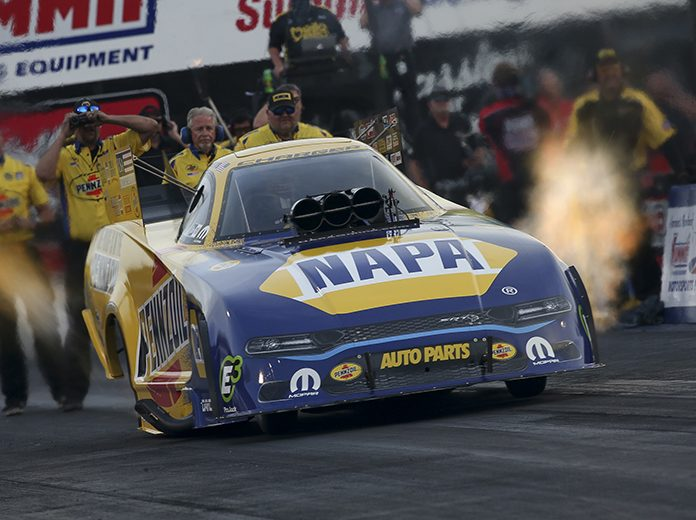 Ron Capps sits atop the Funny Car category after two rounds of qualifying at Summit Racing Equipment Motorsports Park. (NHRA Photo)