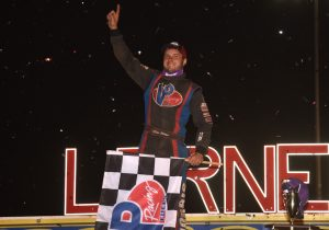 Michael Norris in victory lane at Lernerville Speedway. (Paul Arch photo)