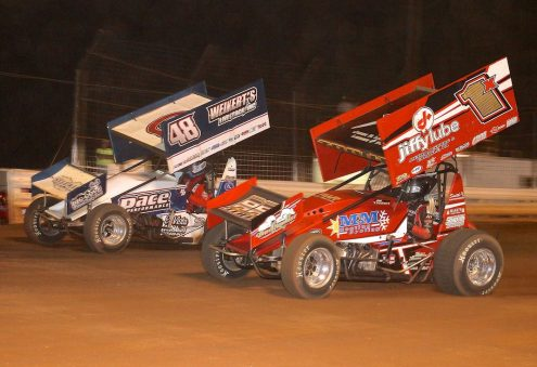 Danny Dietrich (48) races under Chad Trout at Williams Grove Speedway. (Dan Demarco photo)