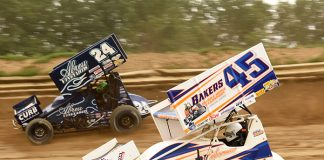 Trevor Baker (45) battles Rico Abreu at Wayne County Speedway earlier this week. (Paul Arch Photo)
