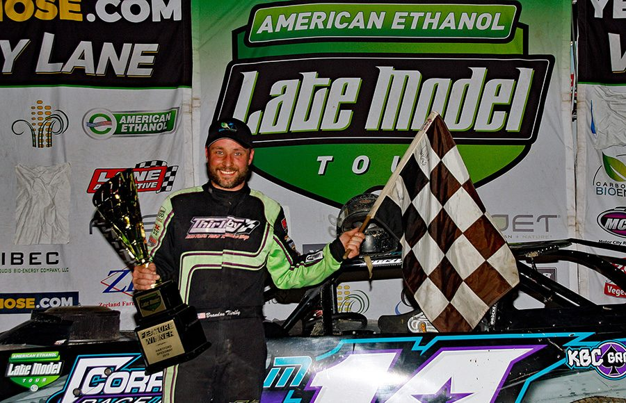 Brandon Thirlby poses in victory lane after winning Friday's American Ethanol Late Model Tour event at Hartford Speedway. (Jim Denhamer Photo)