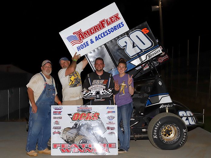 Sheldon Barksdale in victory lane Friday at Thunderbird Speedway. (Phil Race Photo)