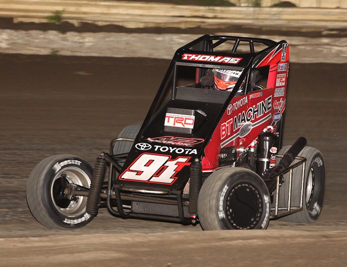 Tyler Thomas on his way to victory Friday at Creek County Speedway. (Richard Bales Photo)