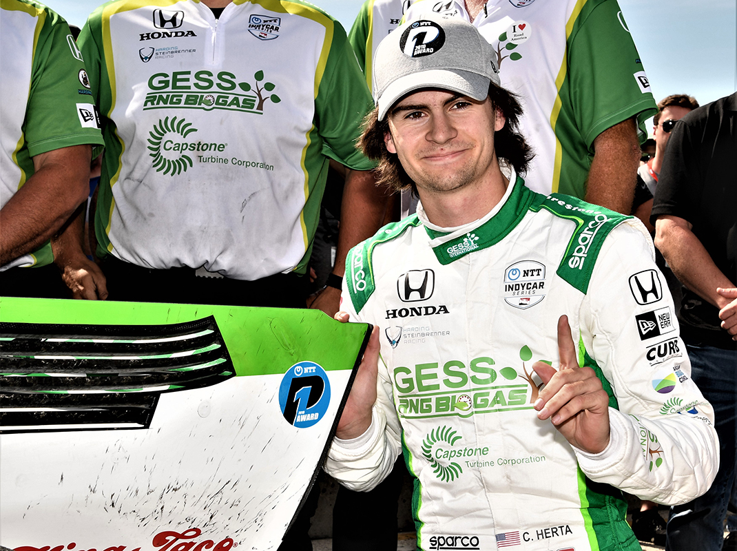 Colton Herta became the youngest polesitter in Indy car history on Saturday at Road America. (Al Steinberg Photo)