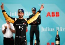 Jean-Eric Vergne celebrates after winning Saturday's Swiss E-Prix. (Formula E Photo)