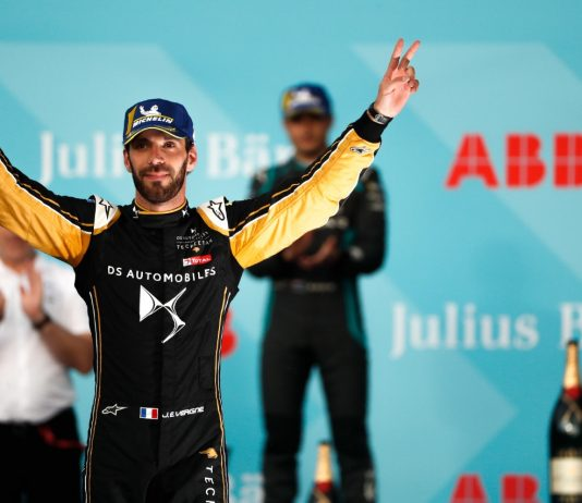 Jean-Eric Vergne celebrates after winning Saturday's Swiss E-Prix. (Formula E Photo)