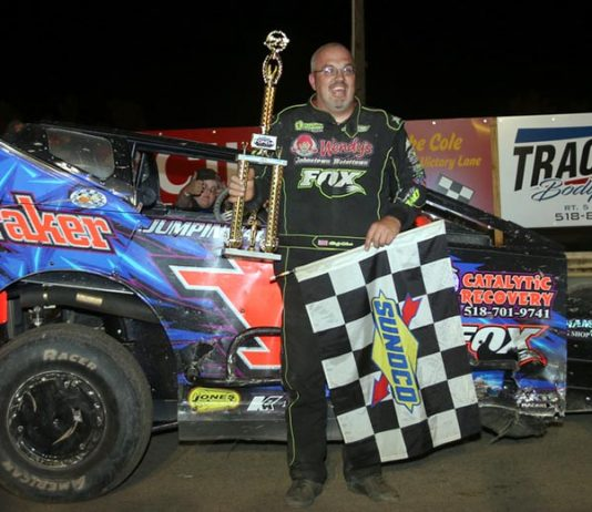 Rocky Warner won Saturday's modified main event at Fonda Speedway. (Dave Dalesandro Photo)