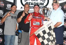 Brandon Ward in victory lane Saturday at Bowman Gray Stadium. (Eric Hylton Photo)
