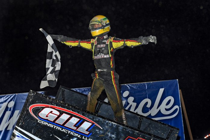 Buddy Kofoid enjoys victory at Wayne County Speedway. (Mike Campbell photo)