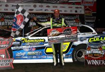Brian Shirley in victory lane at Fairbury American Legion Speedway. (Brendon Bauman photo)