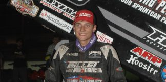 Sean Watts won Saturday's King of the West sprint car feature at Stockton Dirt Track. (Donna Peter photo)