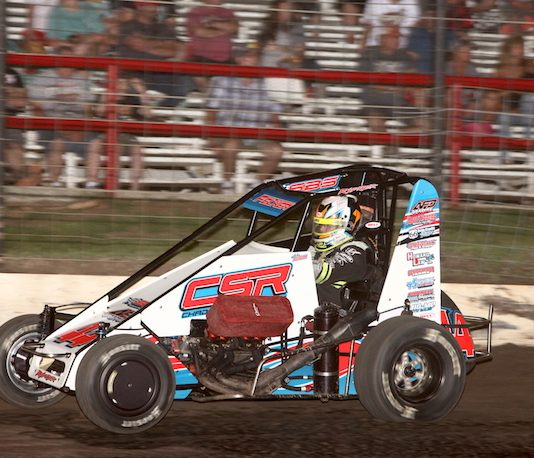 Andrew Felker on his way to victory Saturday at Port City Raceway. (Richard Bales Photo)