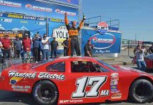 Eddie MacDonald celebrates in victory lane Sunday at New Hampshire Motor Speedway. (Ken MacIsaac Photo)