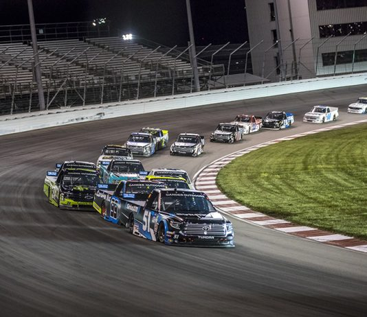 Christian Eckes (51) leads the field during Saturday's NASCAR Gander Outdoors Truck Series race at World Wide Technology Raceway. (Brad Plant Photo)