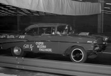 "The inaugural event took place December 30, 1962 with the ""Shake, Rattle and Run"" '57 Chevy entry being one of the fastest cars that day. (Wayne Bryant Photo)"