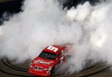 Kasey Kahne celebrates after winning in 2009 at Sonoma Raceway. (NASCAR Photo)