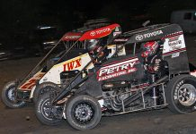 Kevin Thomas Jr. (5) and Tucker Klaasmeyer (27) are both expected to compete when the USAC NOS Energy Drink National Midget Series visits Dirt Oval 66 this weekend. (Jim Denhamer Photo)