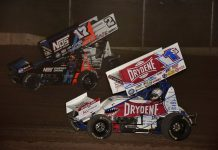 Logan Schuchart (1s), Sheldon Haudenschild (17) and Carson Macedo race three-wide during Saturday's World of Outlaws NOS Energy Drink Sprint Car Series feature at Beaver Dam Raceway. (Mark Funderburk Photo)