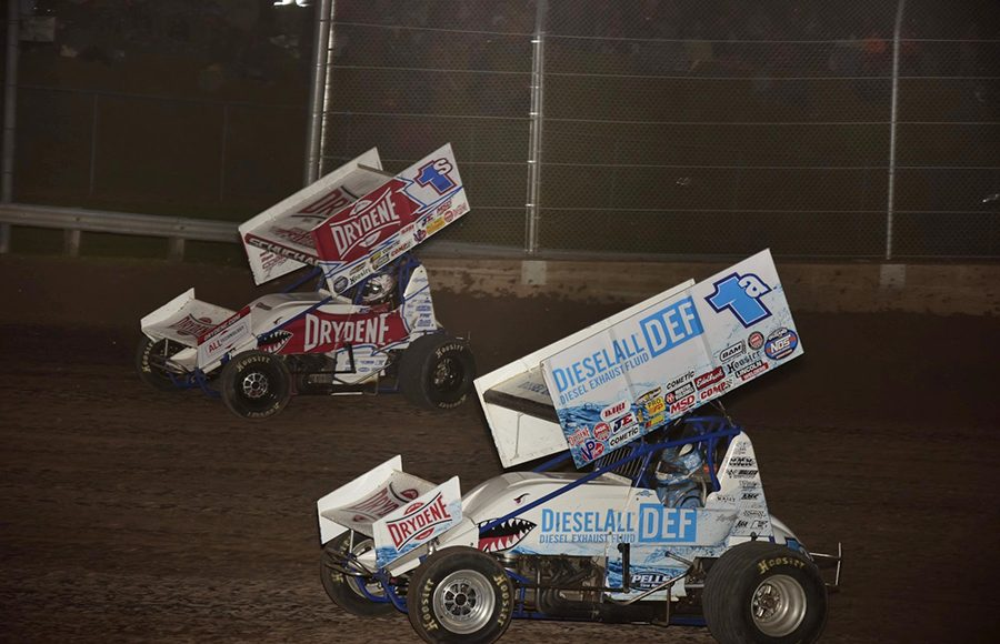 during Saturday's World of Outlaws NOS Energy Drink Sprint Car Series feature at Beaver Dam Raceway. (Mark Funderburk Photo)