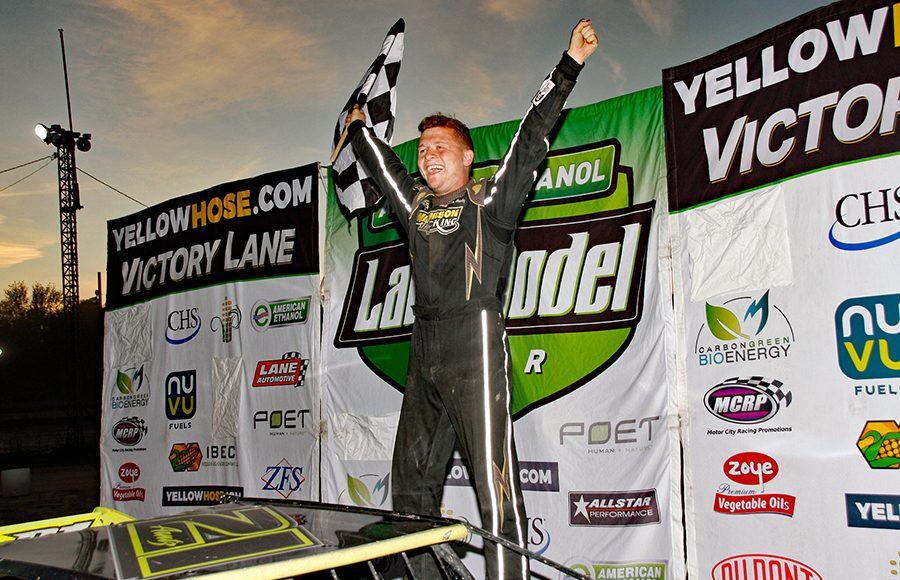 Logan Arntz celebrates after winning his first American Ethanol Late Model Tour feature Saturday at Thunderbird Raceway. (Jim Denhamer Photo)