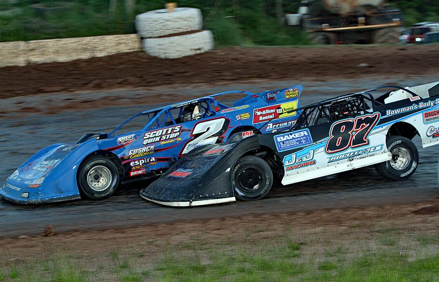 Rich Neiser (87) races to the inside of Travis Stemler during Saturday's American Ethanol Late Model Tour event at Thunderbird Raceway. (Jim Denhamer Photo)