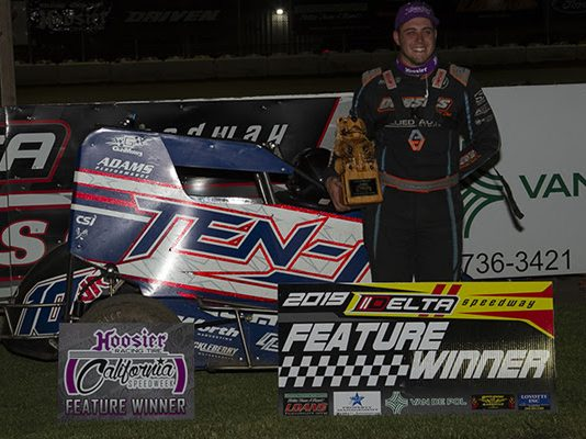 Tristan Guardino in victory lane at Delta Speedway. (Chris Cleveland photo)