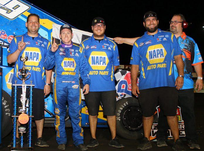 Brad Sweet and crew in victory lane at Jackson Motorplex. (DB3 Imaging photo)
