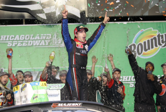 Ty Majeski in victory lane at Chicagoland Speedway. (ARCA photo)